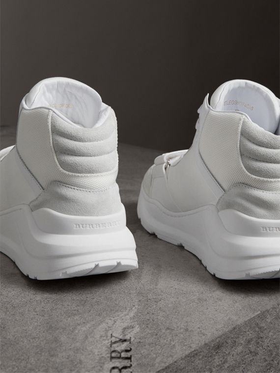 Suede Trim Neoprene High-top Sneakers in Optic White - Women | Burberry Canada - cell image 3