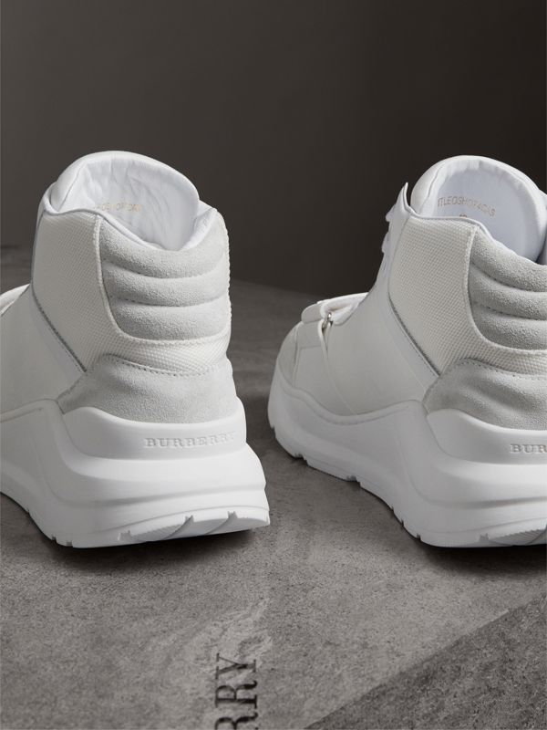 Suede and Neoprene High-top Sneakers in Optic White - Women | Burberry - cell image 3