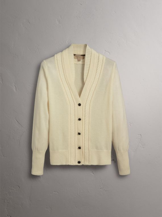 Cable Knit Detail Cashmere Cardigan in Natural White - Women | Burberry - cell image 3