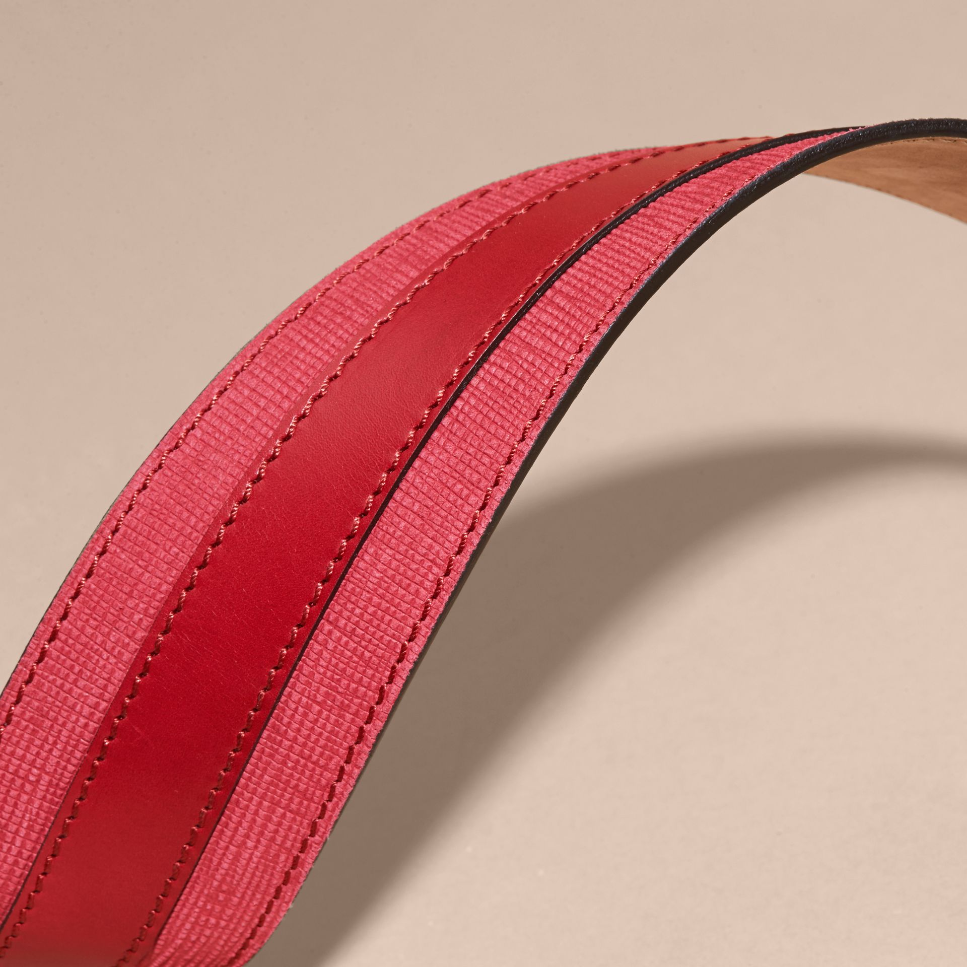 Plum pink Appliquéd Textured Suede and Leather Belt Plum Pink - gallery image 2