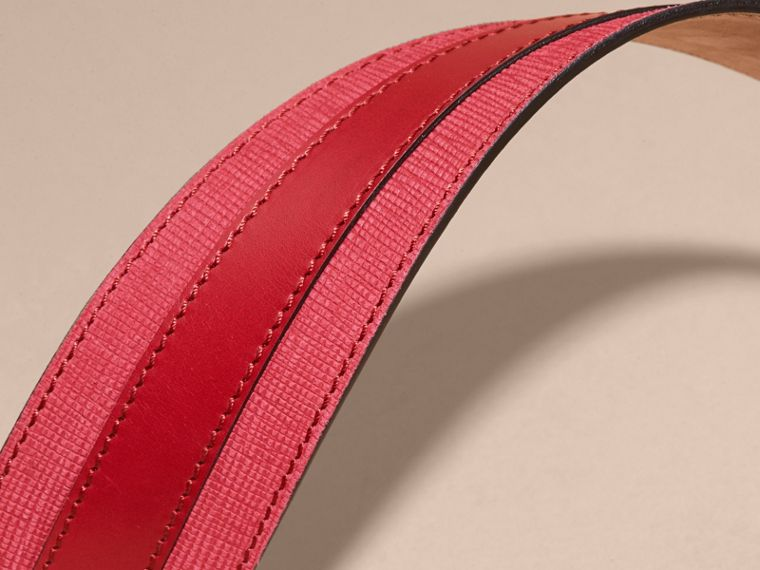 Appliquéd Textured Suede and Leather Belt in Plum Pink - cell image 1