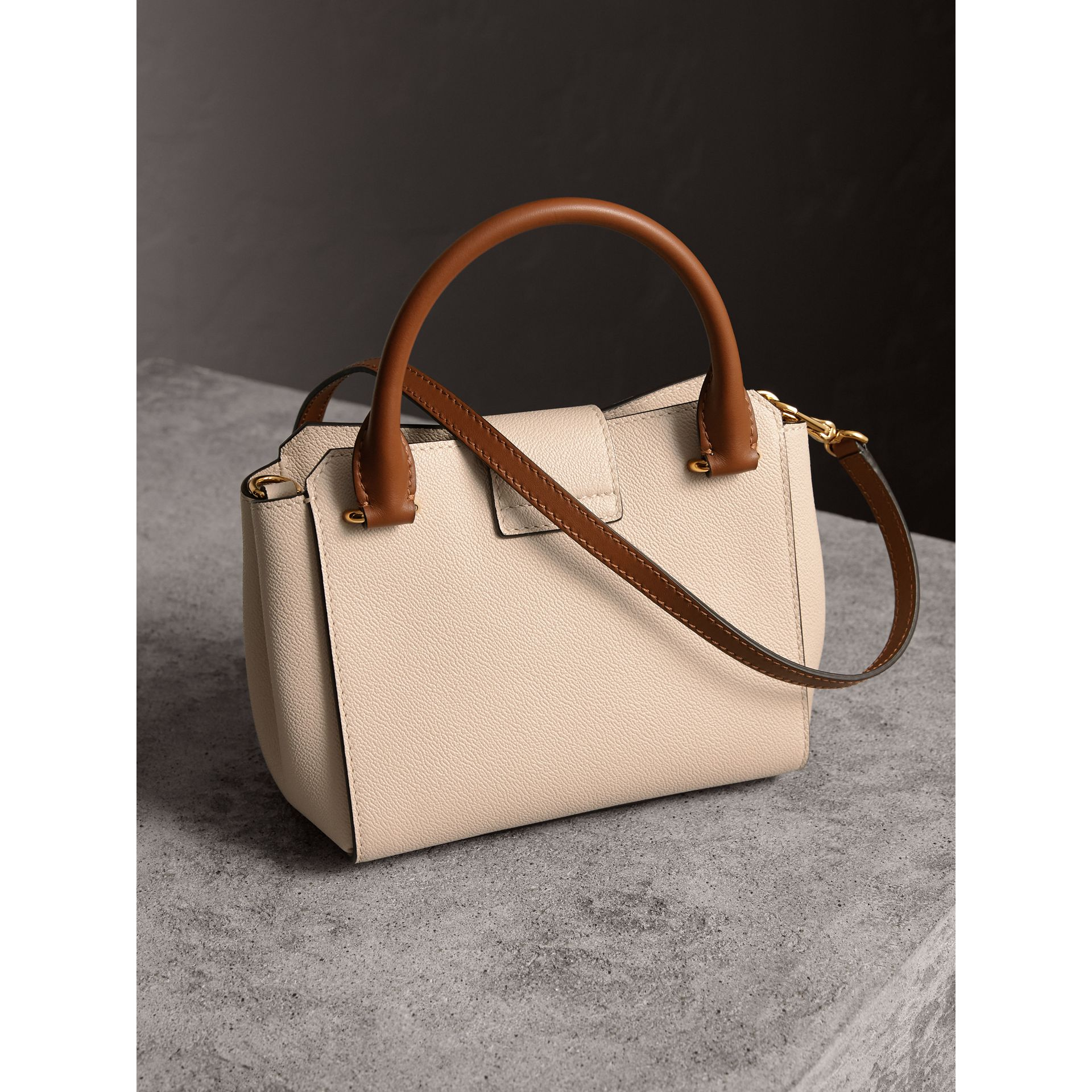 The Small Buckle Tote in Two-tone Leather in Limestone - Women | Burberry Australia - gallery image 5