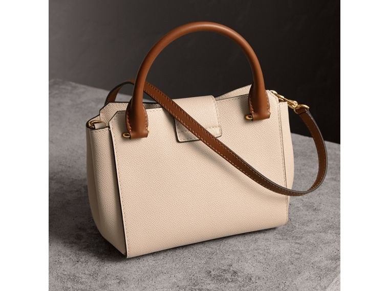 The Small Buckle Tote in Two-tone Leather in Limestone - Women | Burberry Australia - cell image 4