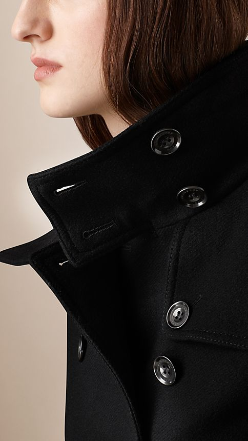 Black Short Double Wool Twill Trench Coat - Image 6