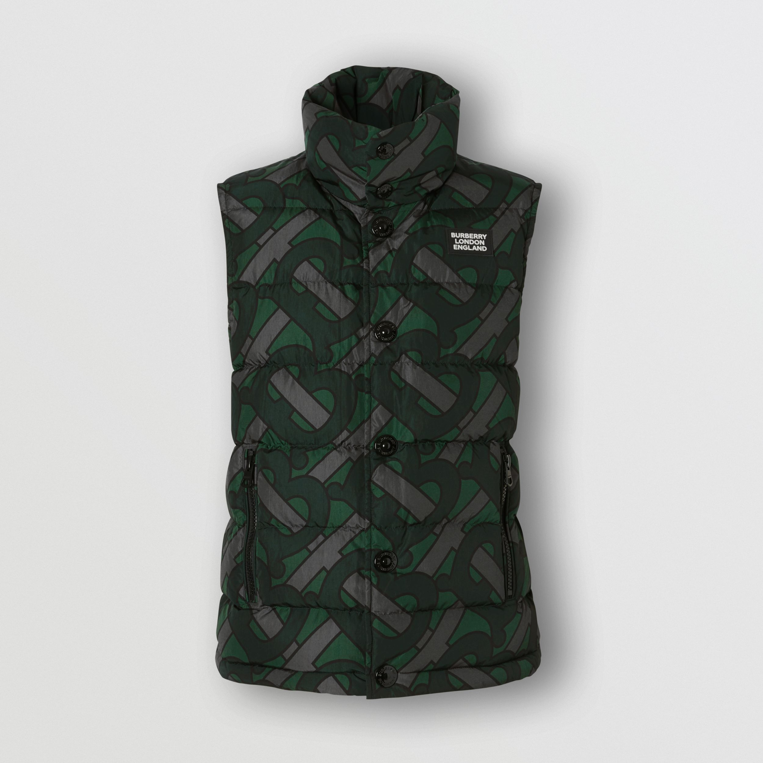 Monogram Print Puffer Gilet in Forest Green | Burberry - 1
