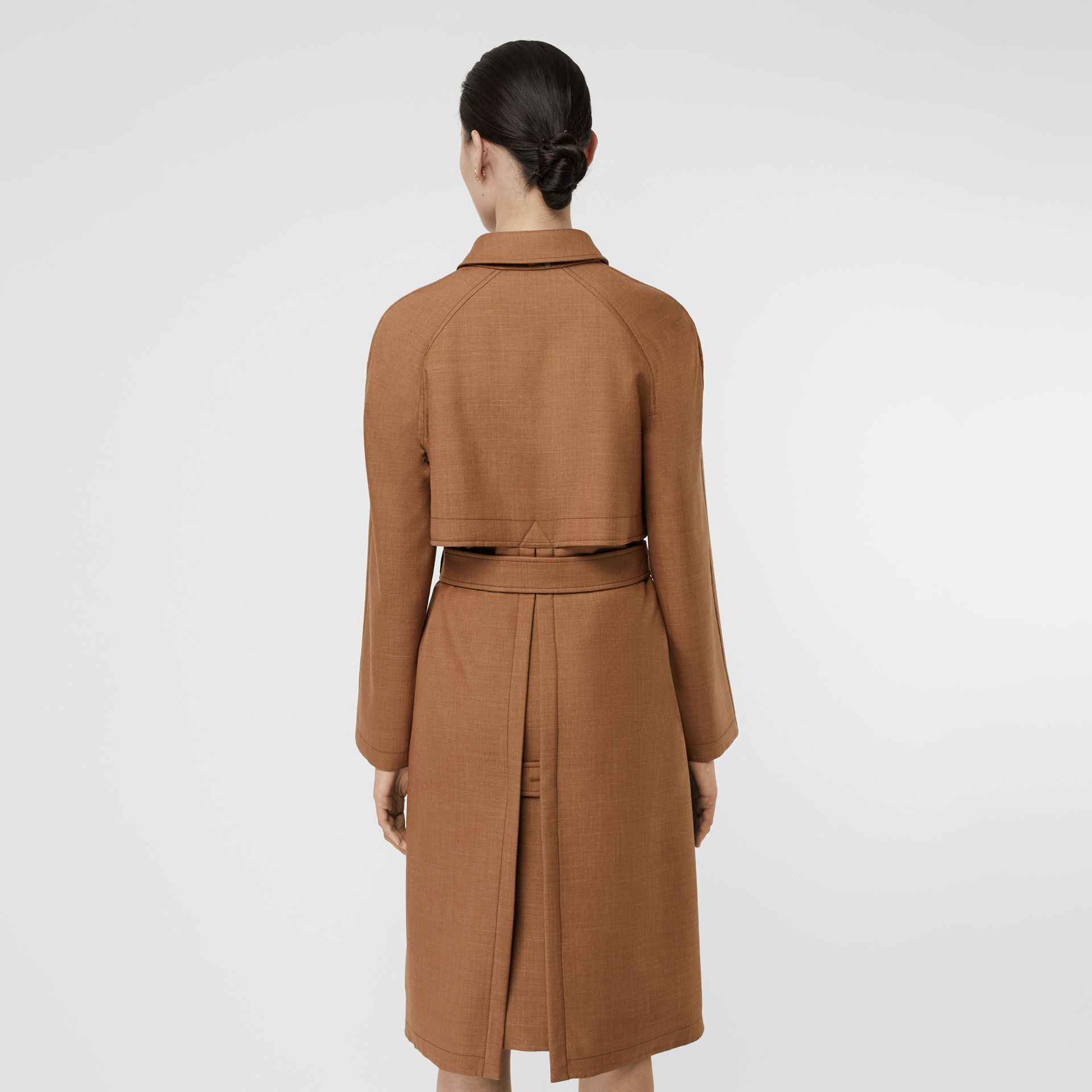 Bonded Wool Silk Mohair Linen Car Coat in Bronze - Women | Burberry Singapore - gallery image 2