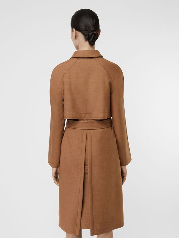 Bonded Wool Silk Mohair Linen Car Coat in Bronze - Women | Burberry Australia - cell image 2