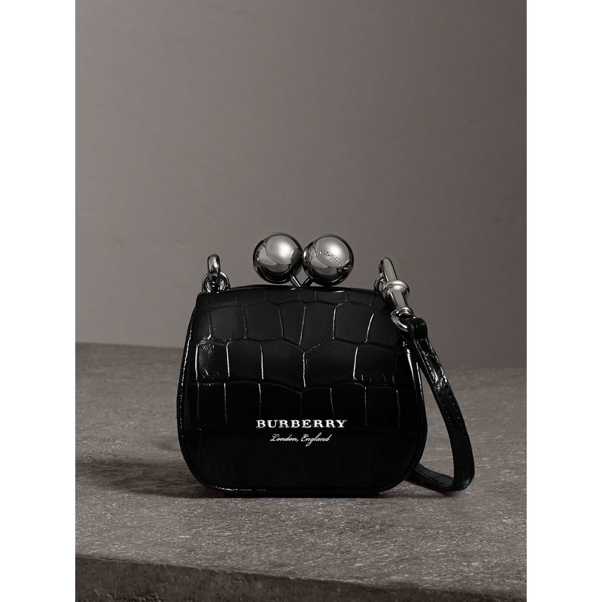 Mini Alligator Metal Frame Clutch Bag in Black - Women | Burberry - gallery image 0