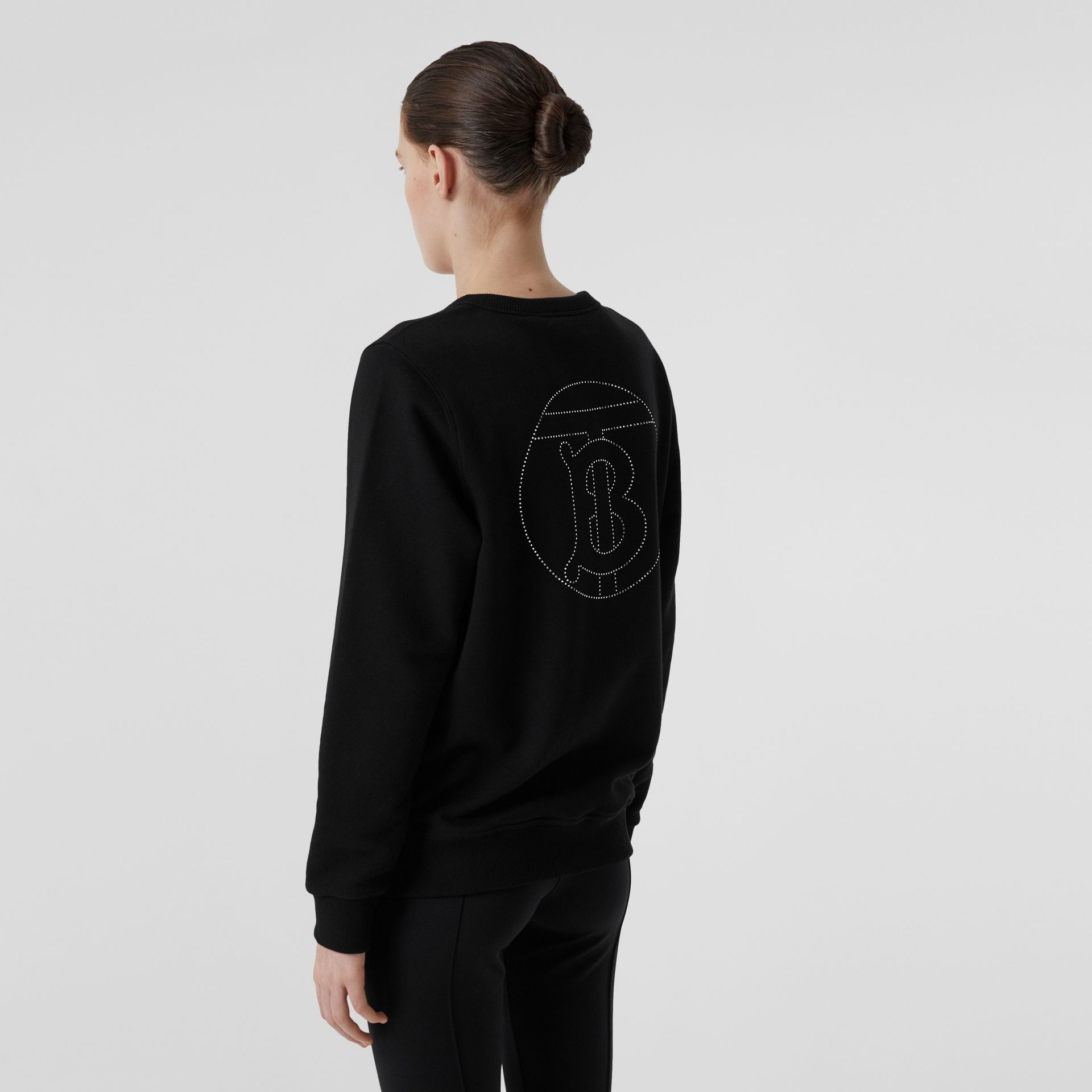 Crystal Monogram Motif Cotton Oversized Sweatshirt in Black - Women | Burberry - gallery image 4