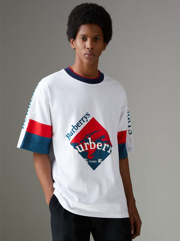 Archive Logo Print Cotton T-shirt in White - Men | Burberry United Kingdom - cell image 3