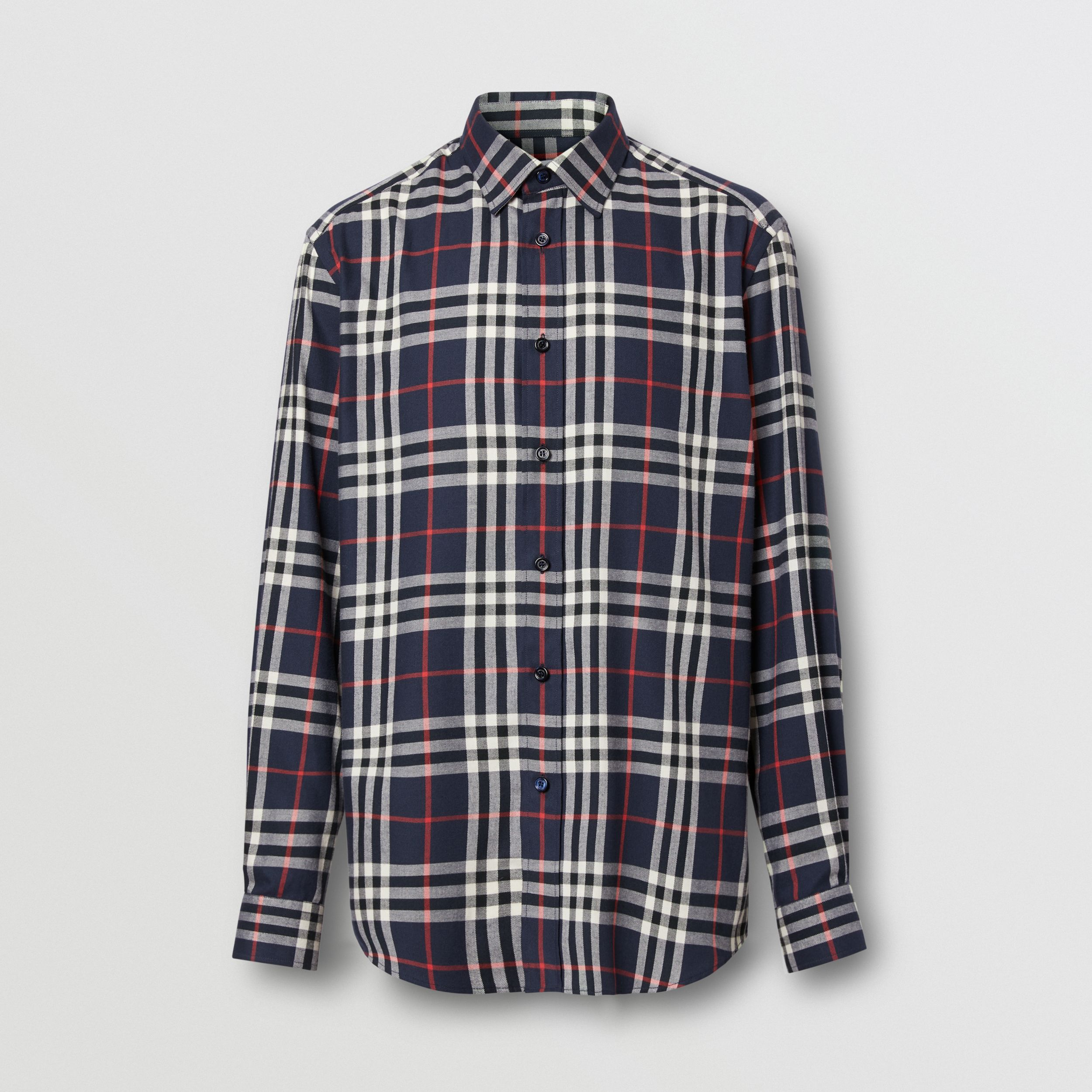 Vintage Check Cotton Flannel Shirt in Navy - Men | Burberry - 4