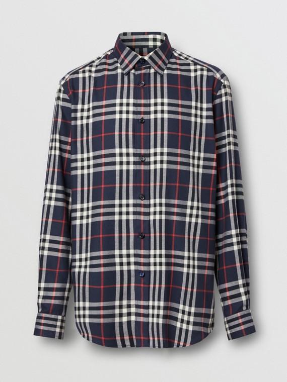 Hemd aus Baumwollflanell mit Vintage Check-Muster (Marineblau)