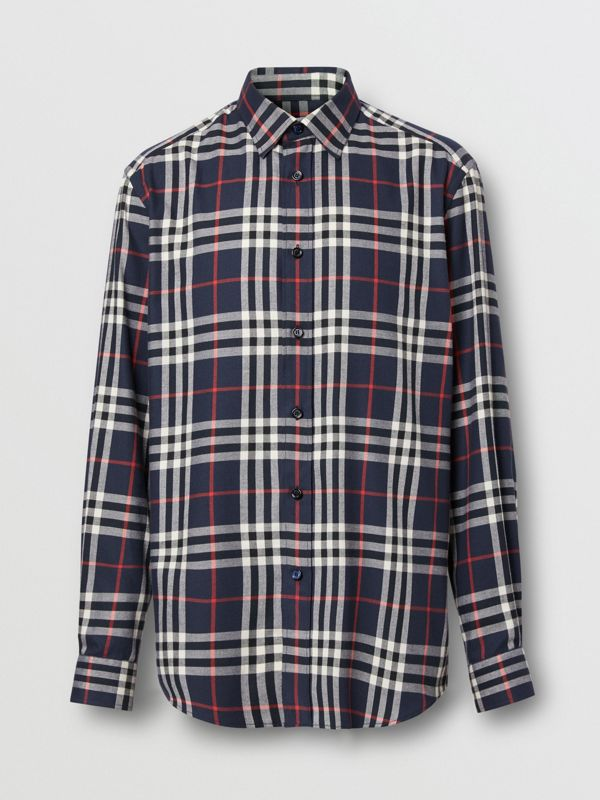 Vintage Check Cotton Flannel Shirt in Navy - Men | Burberry - cell image 3