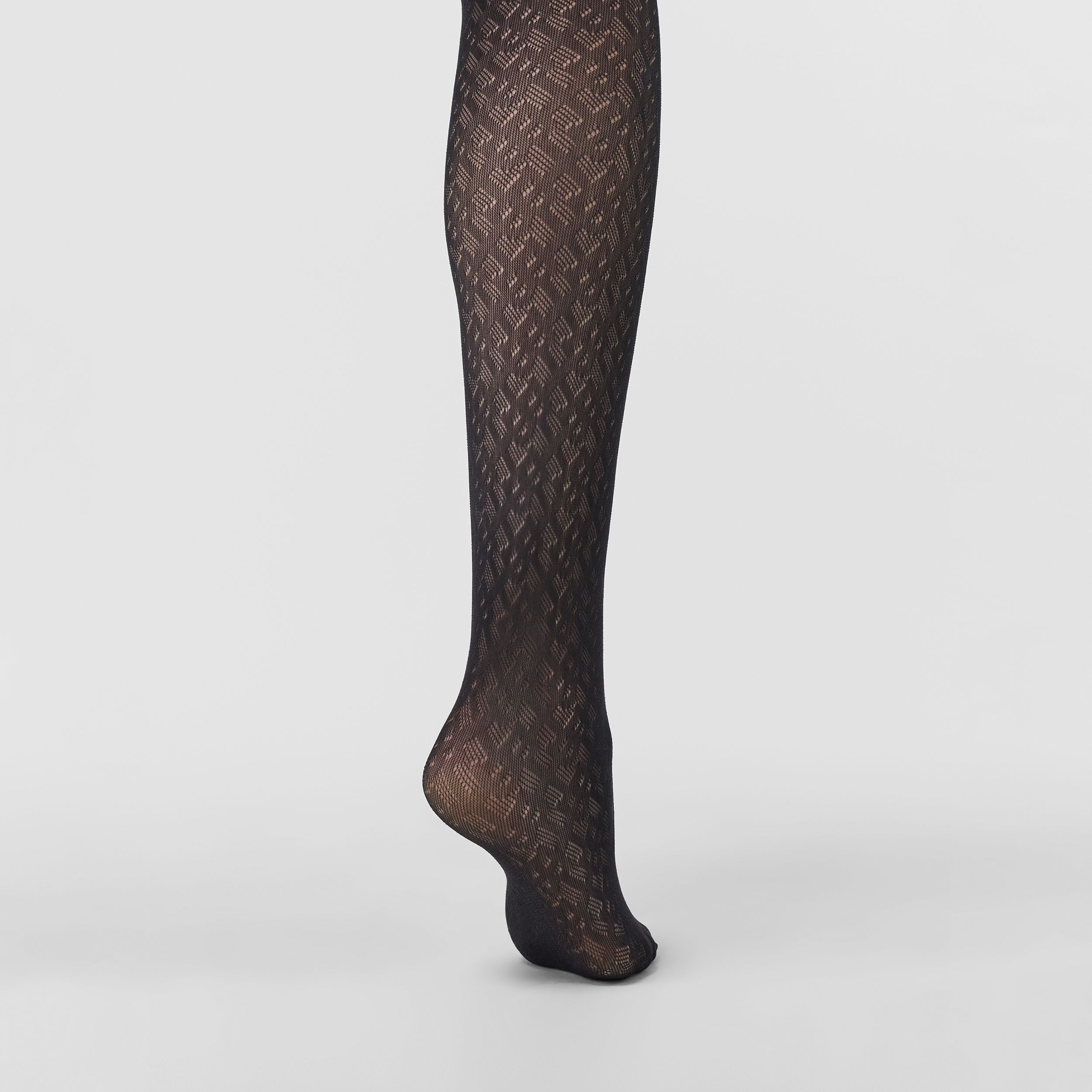 Monogram Motif Tights in Black - Women | Burberry - 3