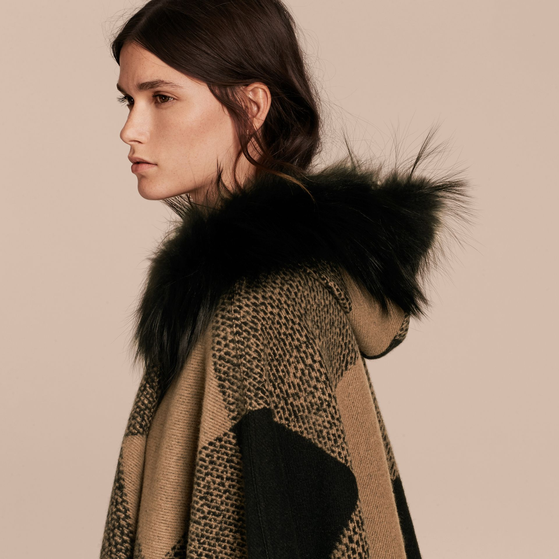 Camel Fur-trimmed Buffalo Check Wool Cashmere Poncho Camel - gallery image 5
