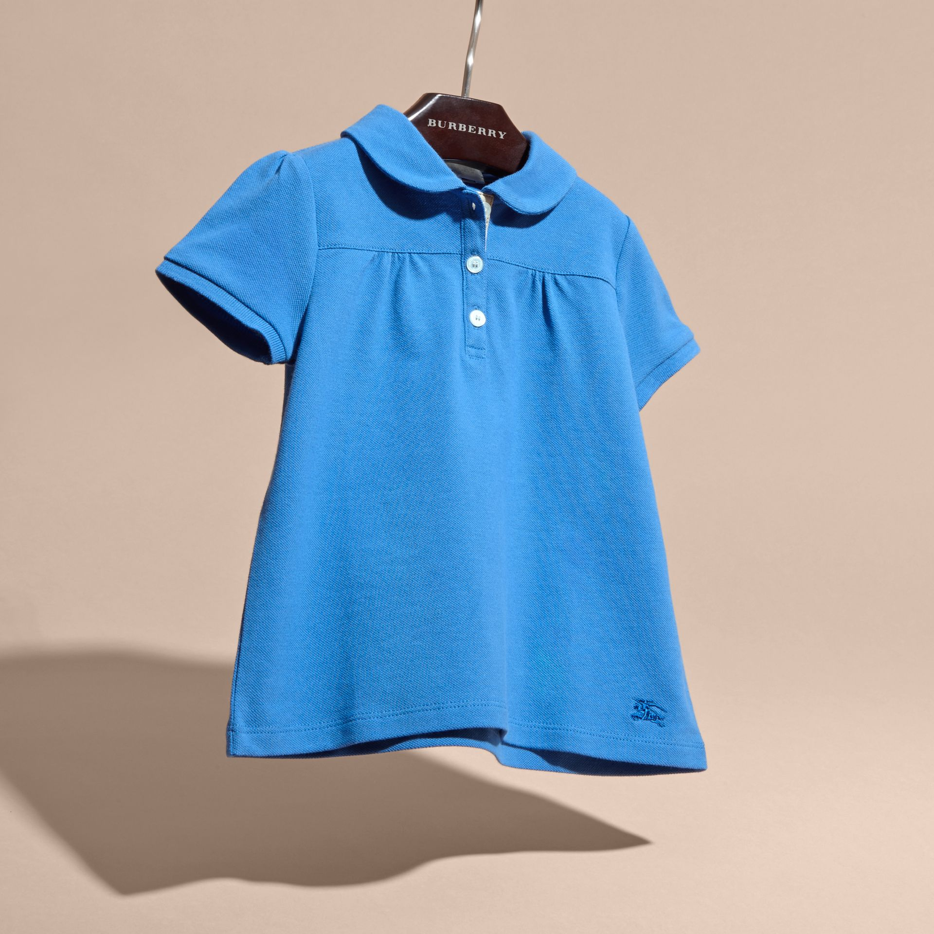 Peter Pan Collar Cotton Piqué Polo Shirt in Hydrangea Blue - gallery image 3