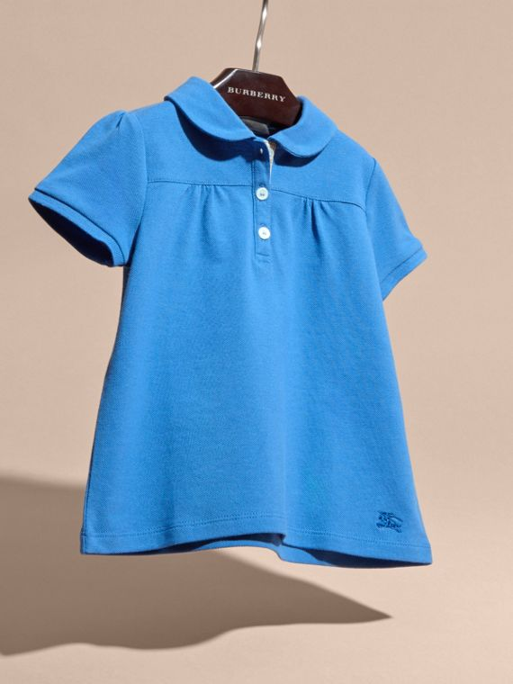 Ruched Detail Stretch Cotton Polo Shirt Hydrangea Blue - cell image 2