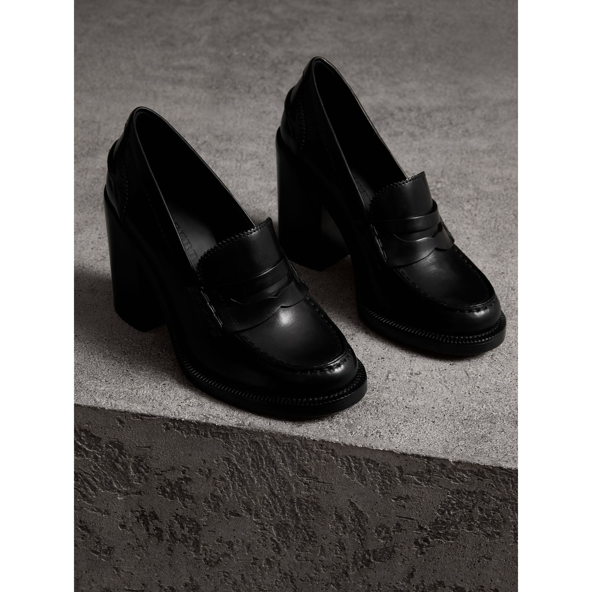 Leather Block-heel Penny Loafers in Black - Women | Burberry - gallery image 4