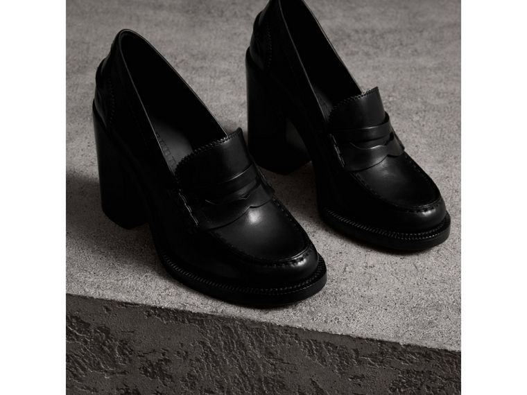 Leather Block-heel Penny Loafers in Black - Women | Burberry - cell image 4