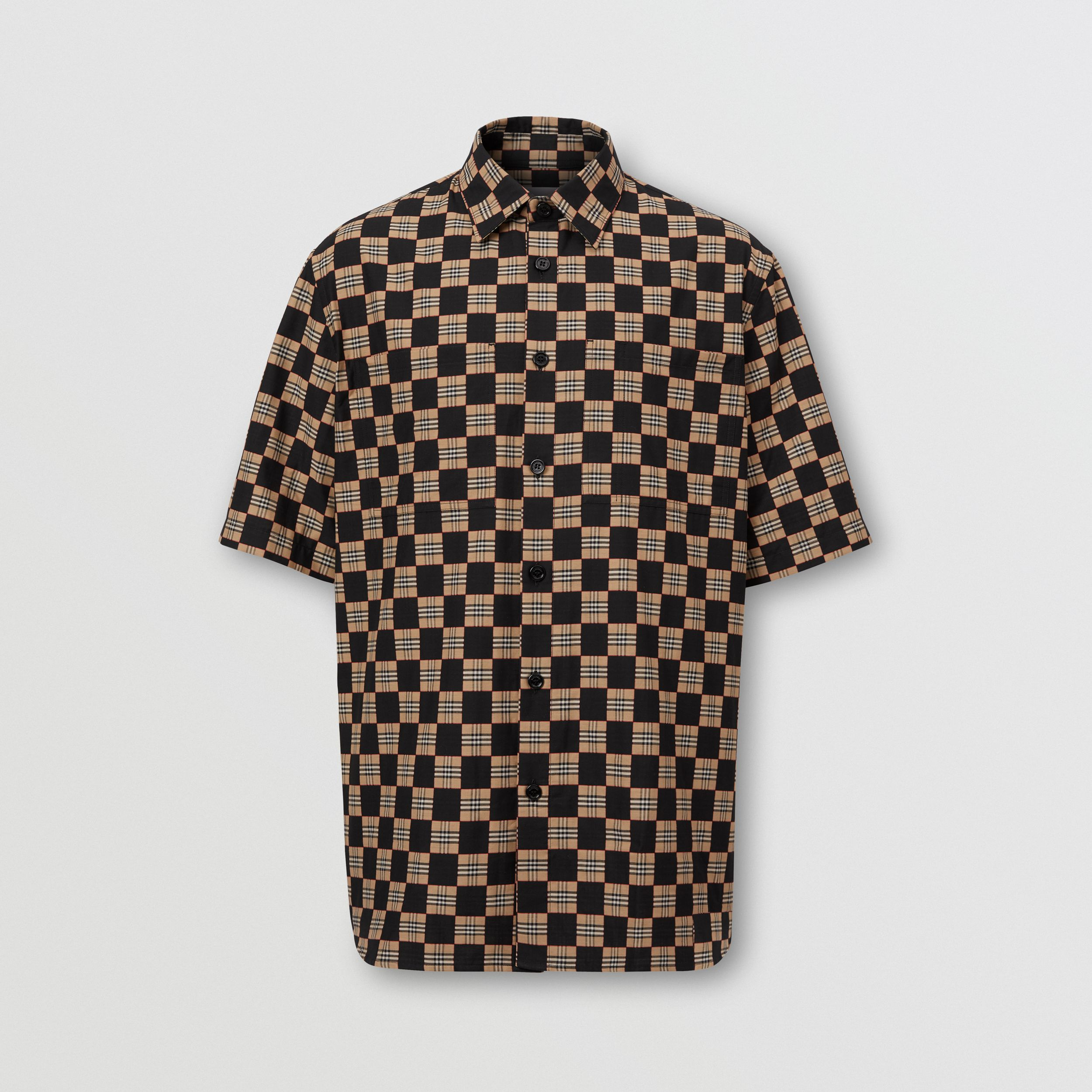 Short-sleeve Chequer Print Cotton Shirt - Men | Burberry - 4