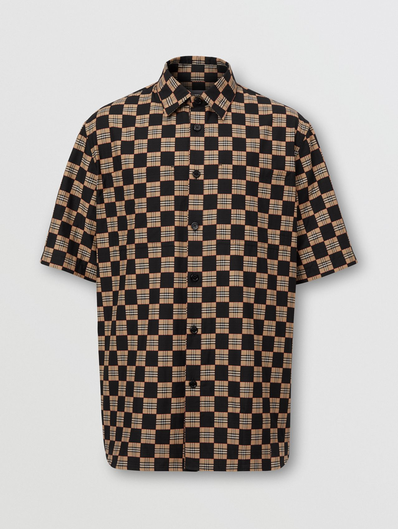 Short-sleeve Chequer Print Cotton Shirt