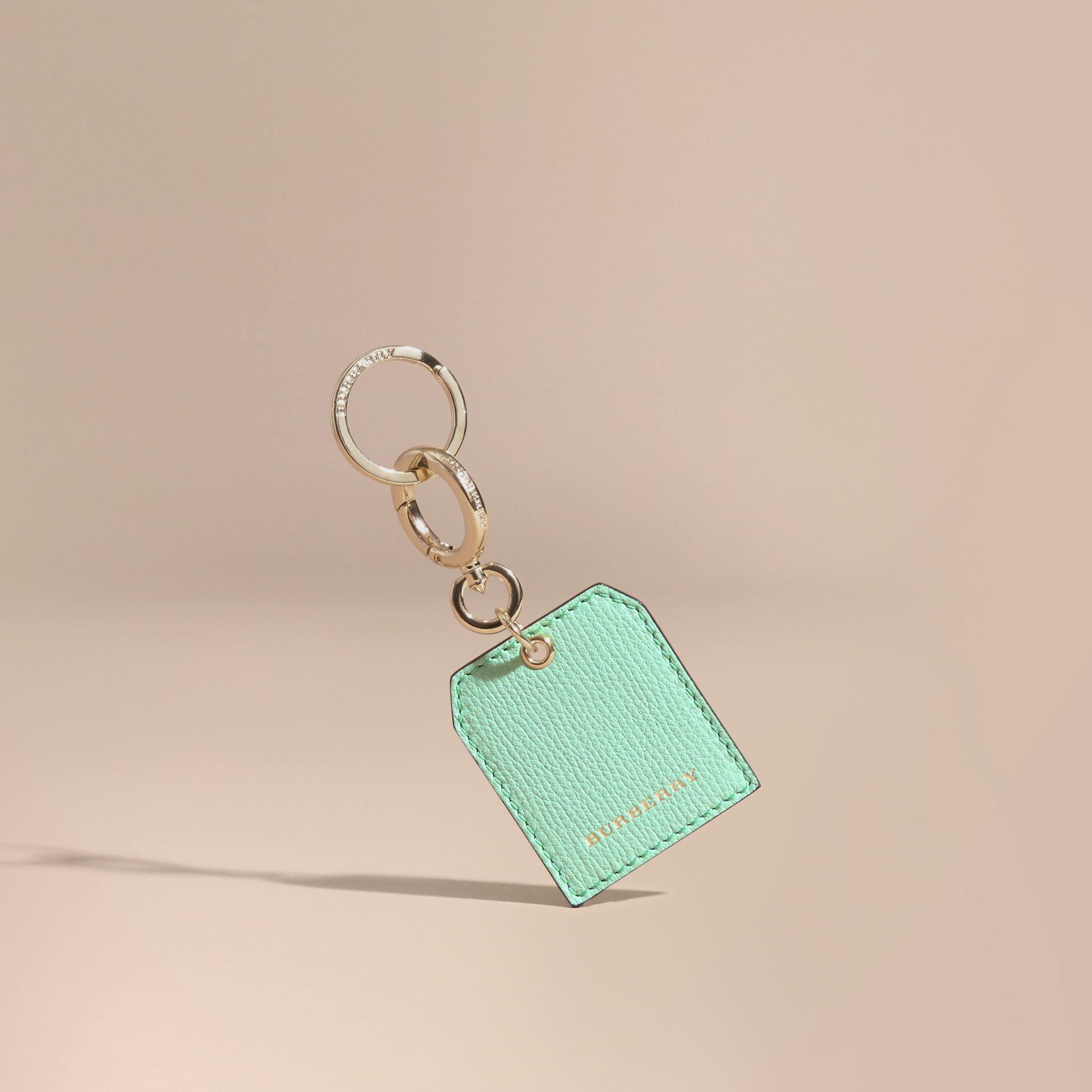 Grainy Leather Key Charm in Light Mint | Burberry - gallery image 1