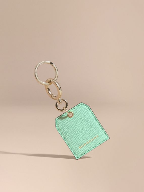 Grainy Leather Key Charm in Light Mint