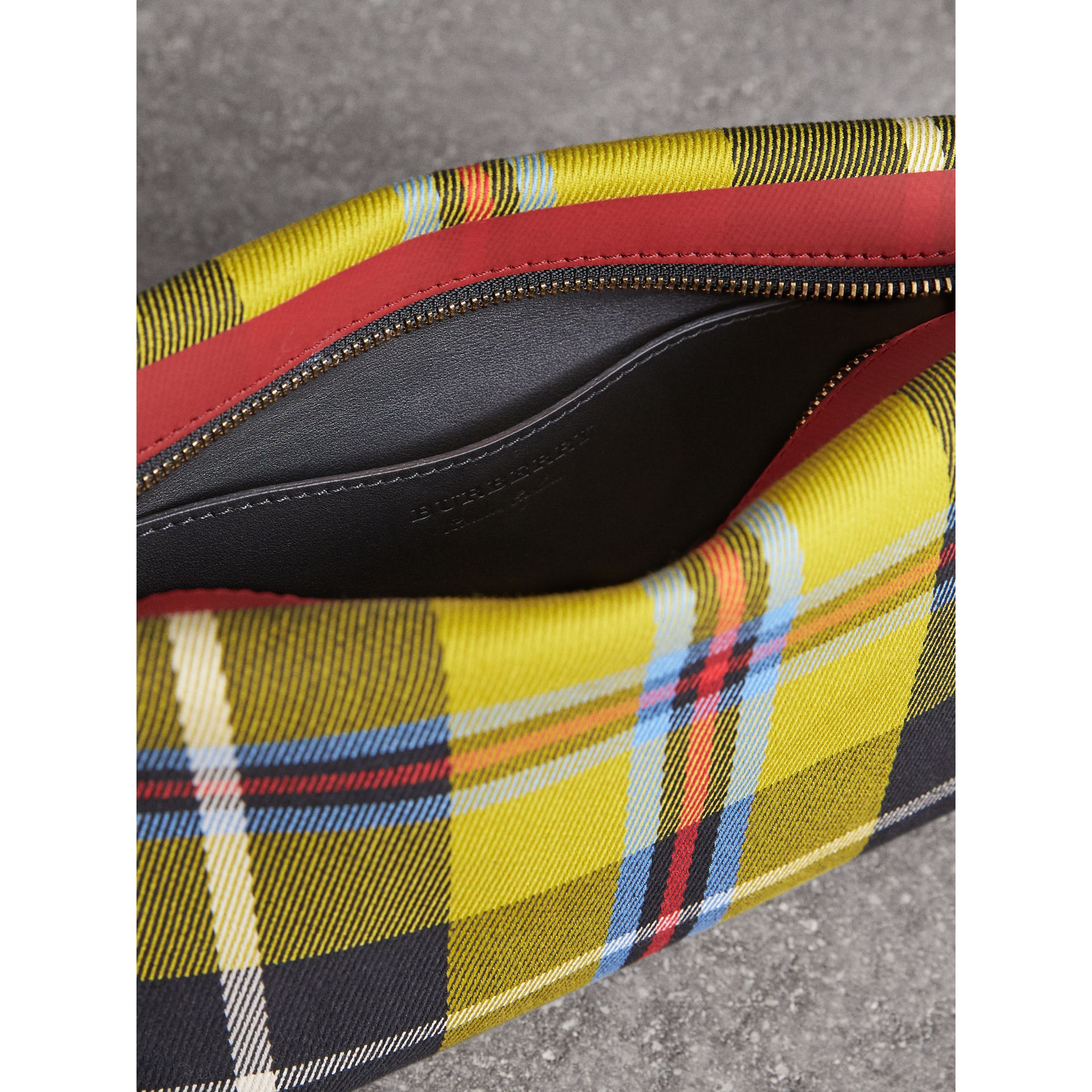 Tartan Cotton Clutch in Flax Yellow/caramel | Burberry Australia - gallery image 5