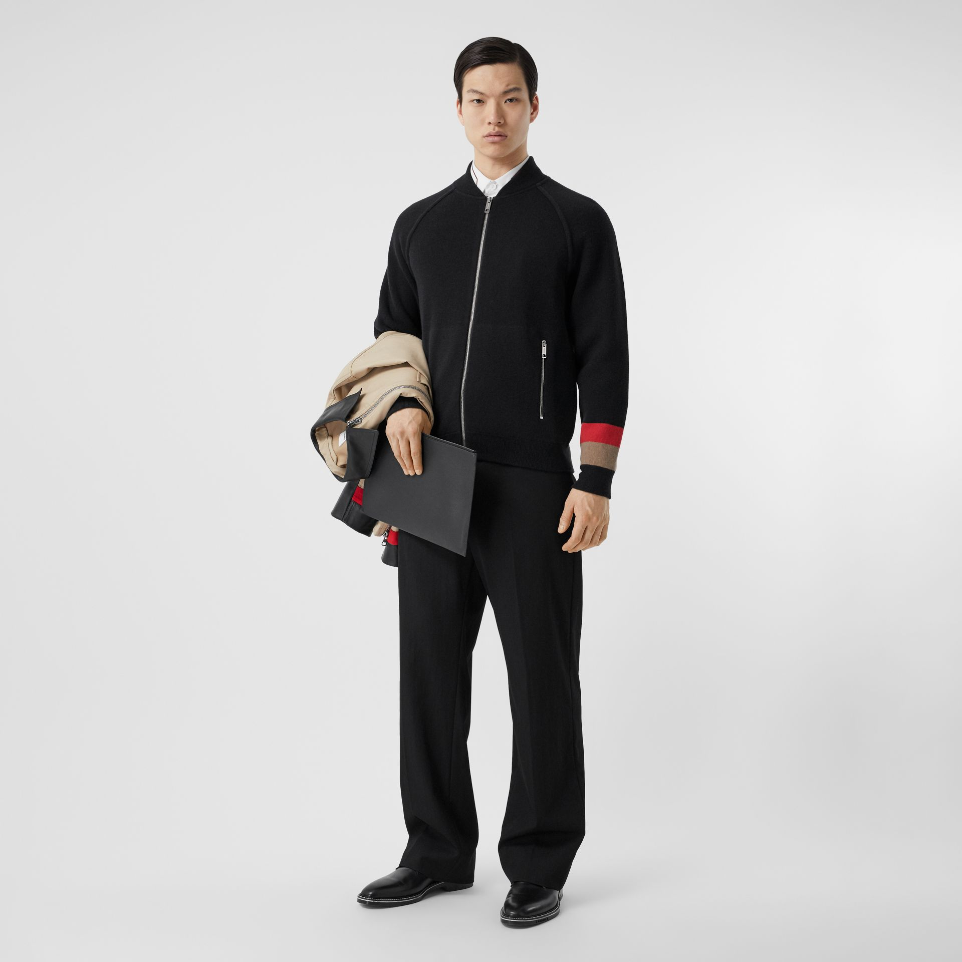 Double-faced Wool Cashmere Blend Bomber Jacket in Black | Burberry - gallery image 0