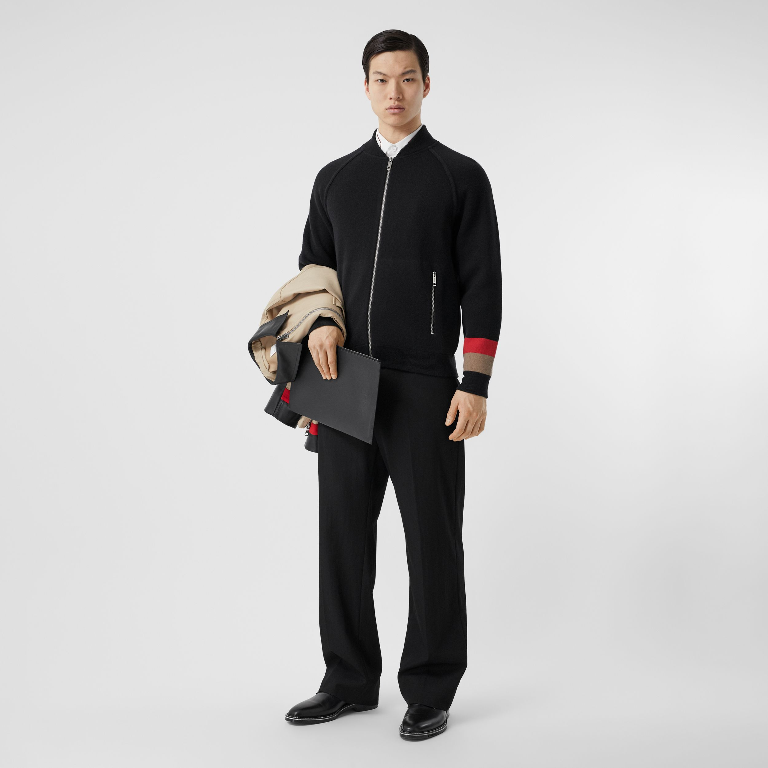 Double-faced Wool Cashmere Blend Bomber Jacket in Black - Men | Burberry - 1