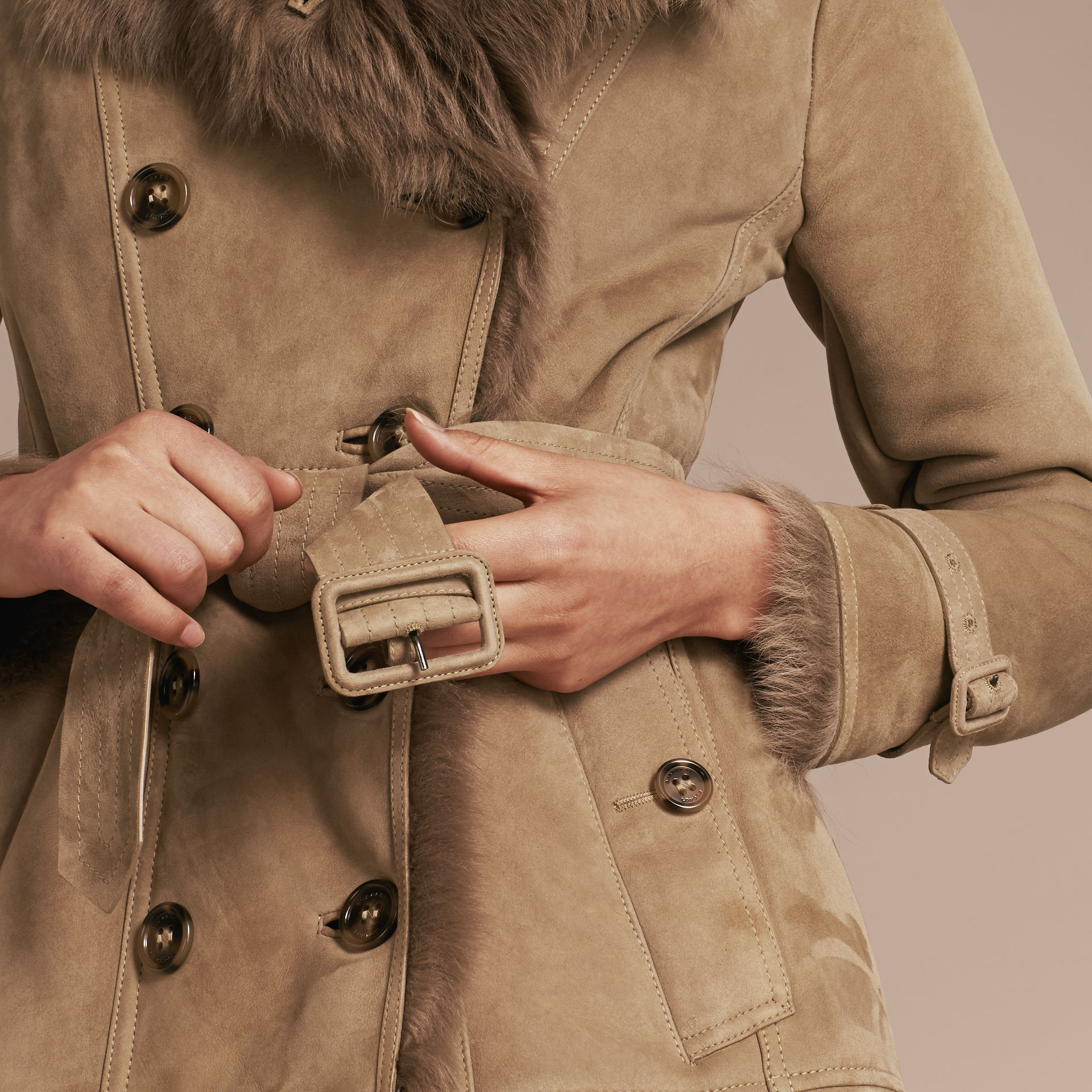 Camel Shearling Trench Coat Camel - gallery image 6