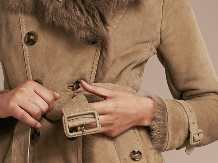 Camel Shearling Trench Coat Camel - cell image 4
