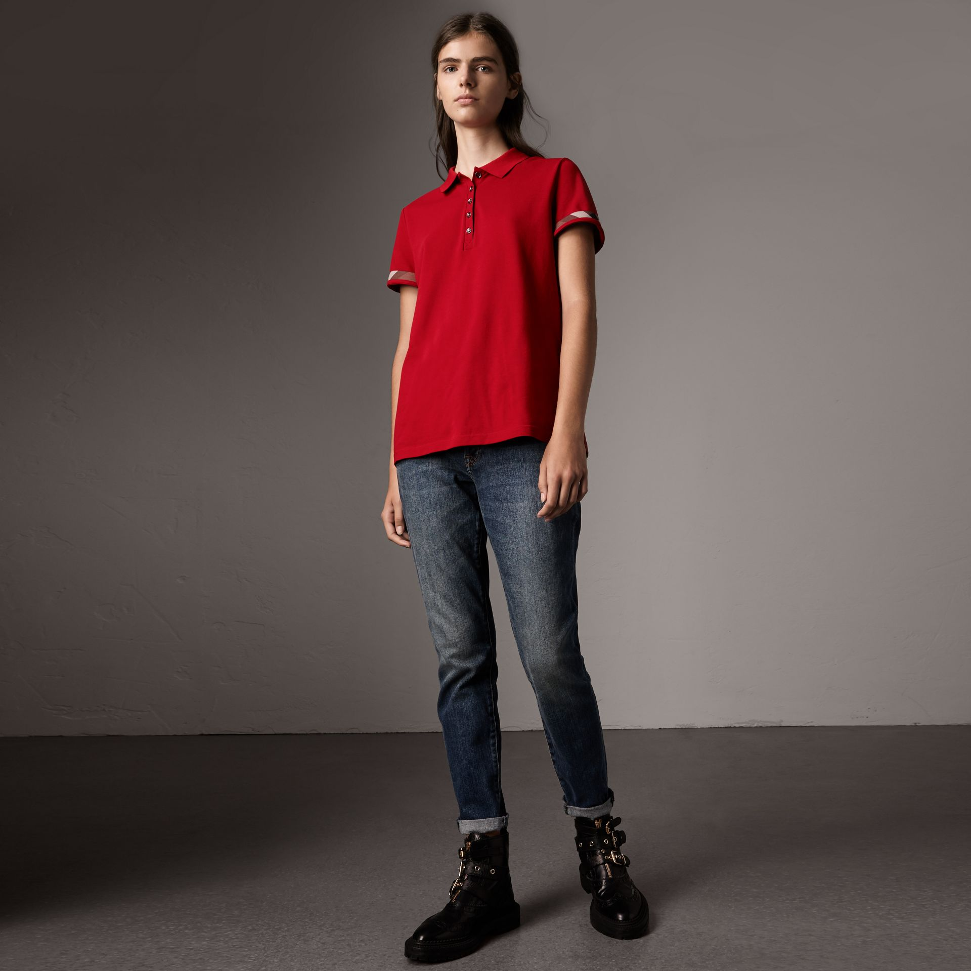 Check Trim Stretch Cotton Piqué Polo Shirt in Military Red - Women | Burberry - gallery image 0