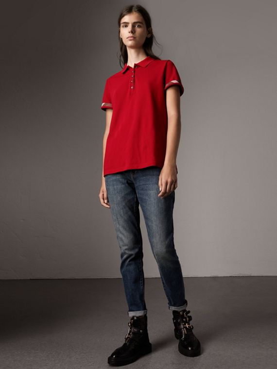Check Trim Stretch Cotton Piqué Polo Shirt in Military Red