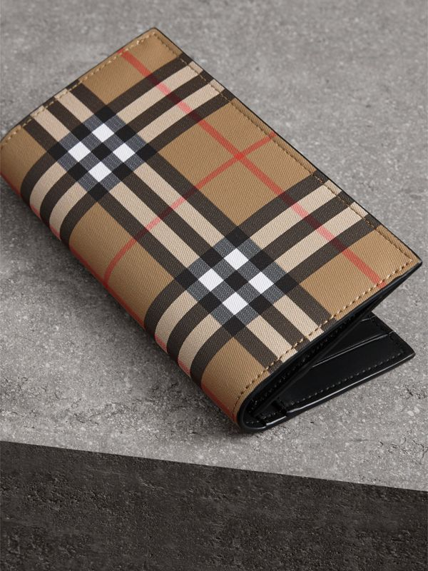 Vintage Check and Leather Continental Wallet in Antique Yellow/black - Men | Burberry United Kingdom - cell image 2