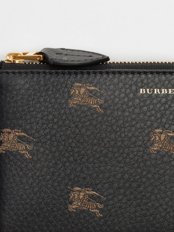 EKD Leather Ziparound Wallet and Coin Case in Black - Women | Burberry Australia - cell image 1