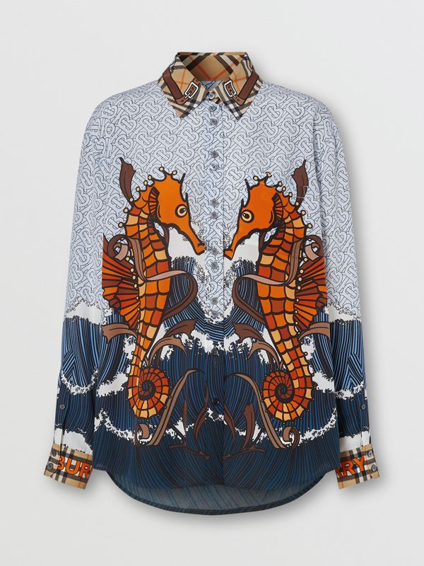 Seahorse and Monogram Print Silk Shirt in Baby Blue - Women | Burberry - cell image 3