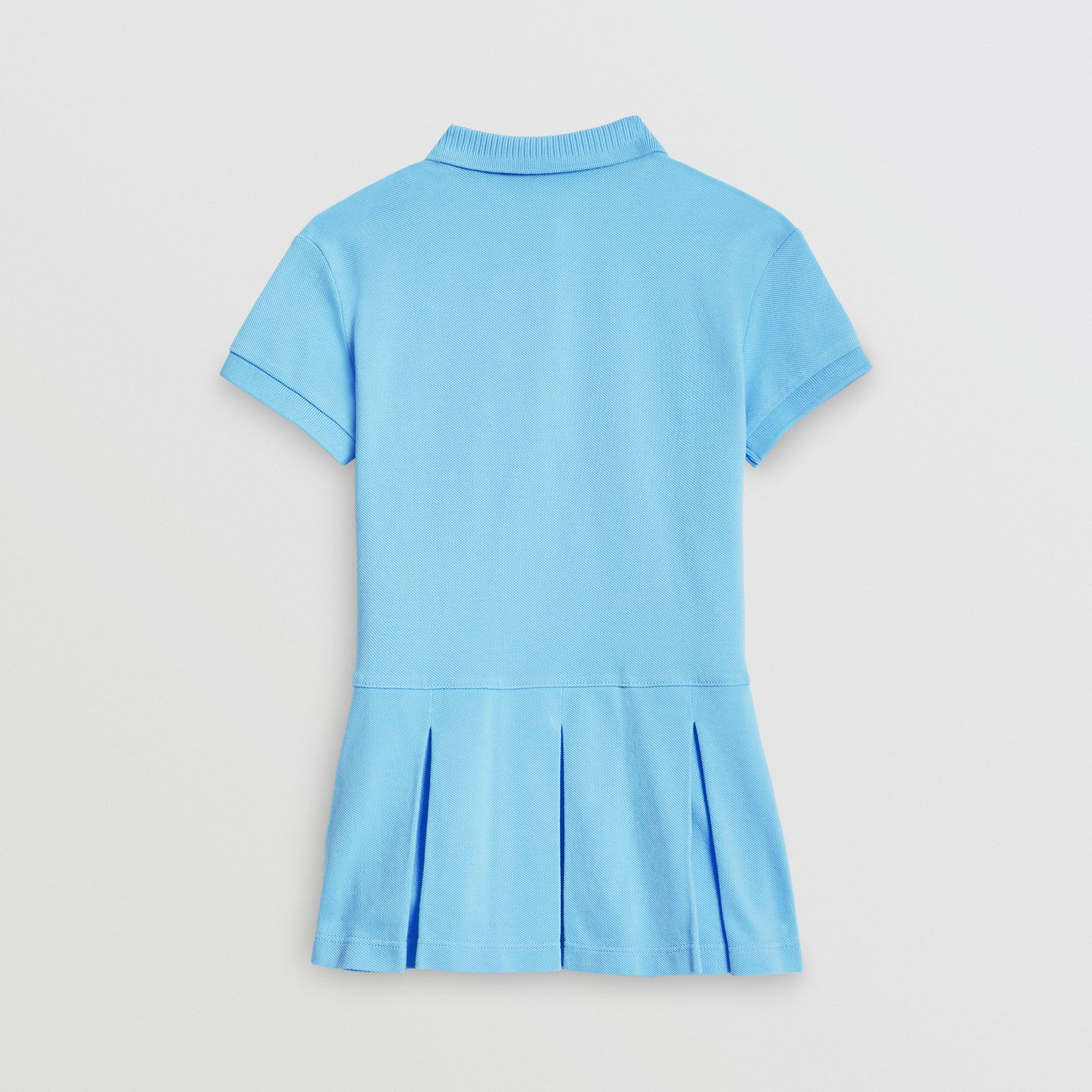 EKD Logo Cotton Polo Dress in Hydrangea Blue - Girl | Burberry - gallery image 3