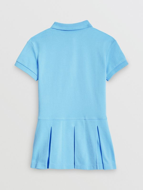 EKD Logo Cotton Polo Dress in Hydrangea Blue - Girl | Burberry United Kingdom - cell image 3