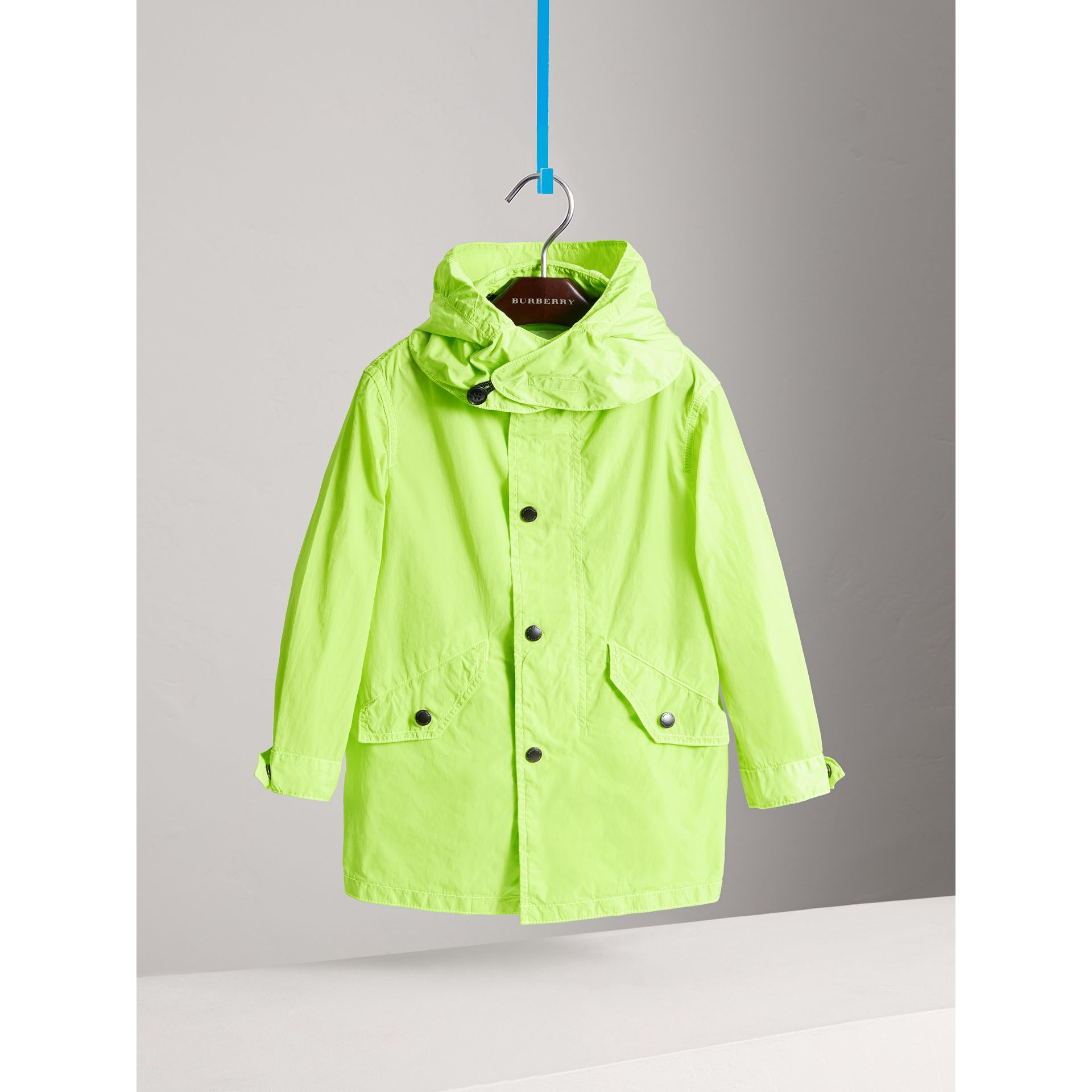 Detachable Hood Lightweight Parka Coat in Neon Yellow - Boy | Burberry - gallery image 2