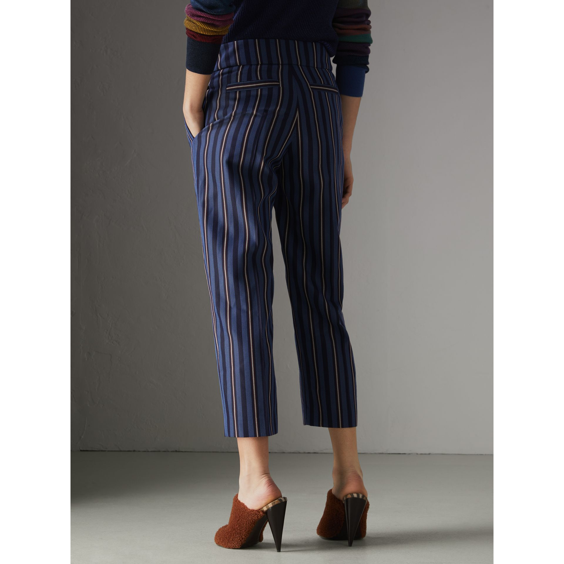 Striped Wool Blend Cropped Trousers in Navy/light Blue - Women | Burberry - gallery image 2