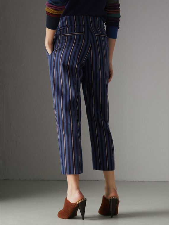 Striped Wool Blend Cropped Trousers in Navy/light Blue - Women | Burberry - cell image 2
