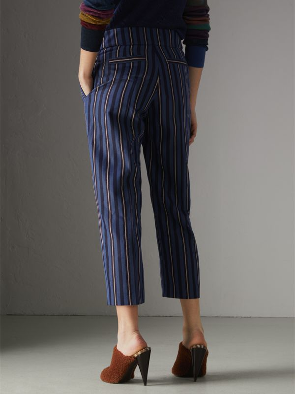 Striped Wool Blend Cropped Trousers in Navy/light Blue - Women | Burberry Hong Kong - cell image 2