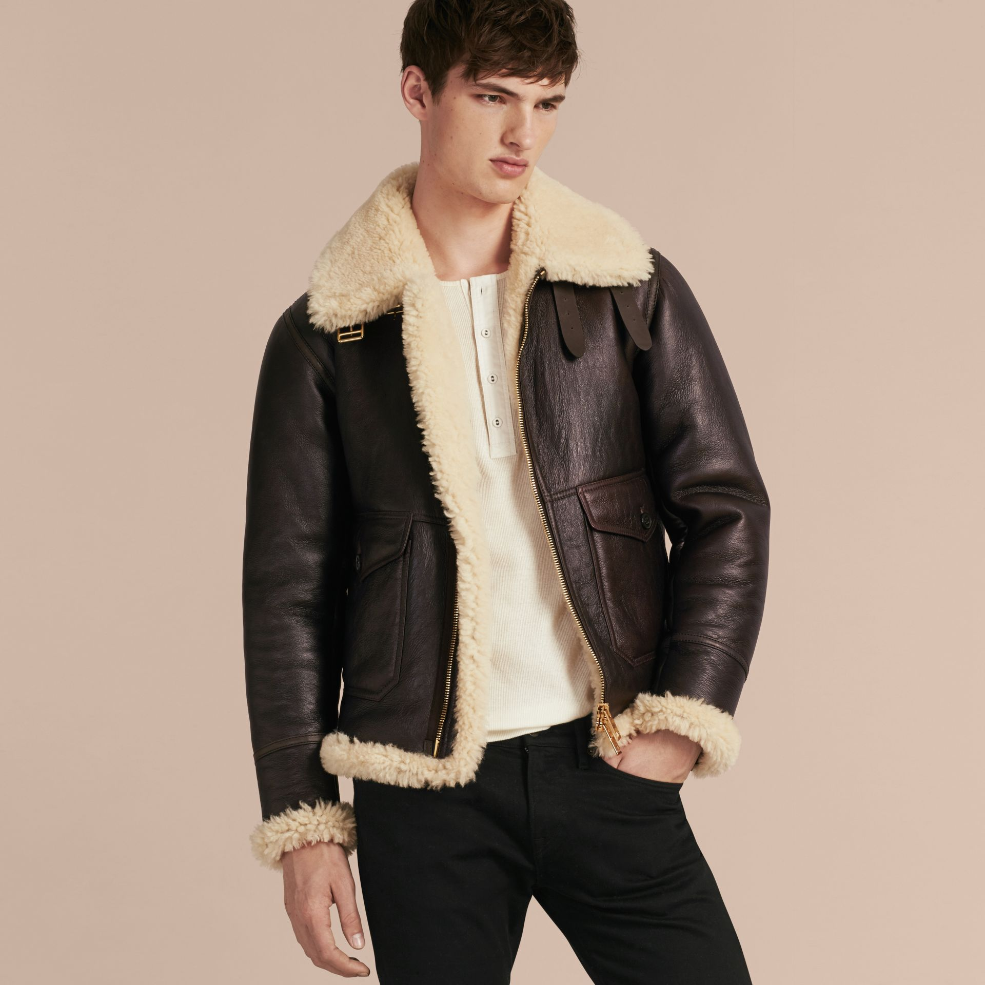 Dark cognac Shearling Aviator Jacket - gallery image 7