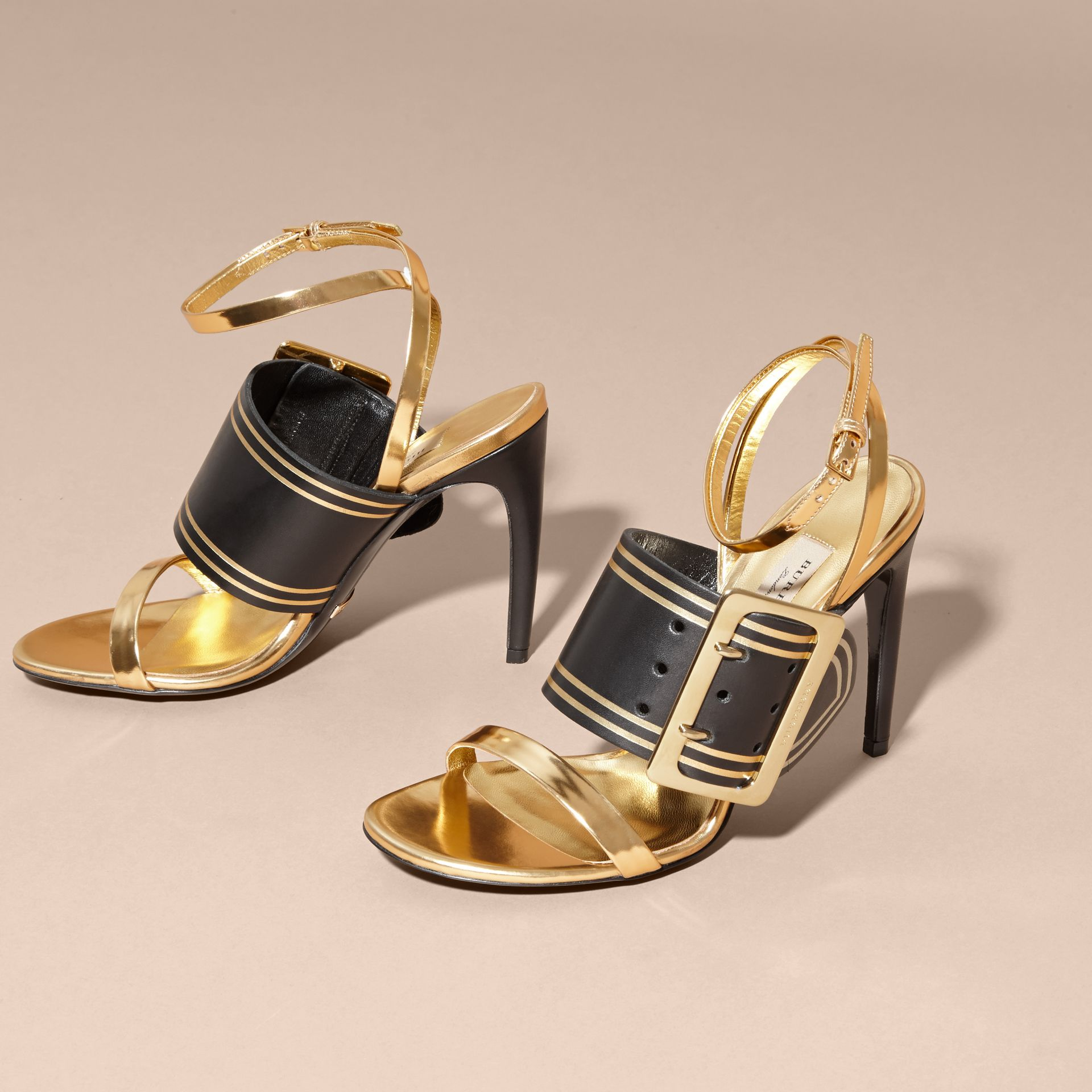 Antique gold Two-tone Buckle Detail Leather Sandals - gallery image 3