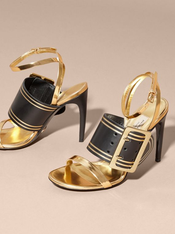 Antique gold Two-tone Buckle Detail Leather Sandals - cell image 2
