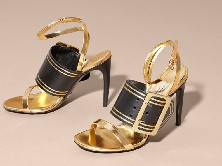 Two-tone Buckle Detail Leather Sandals