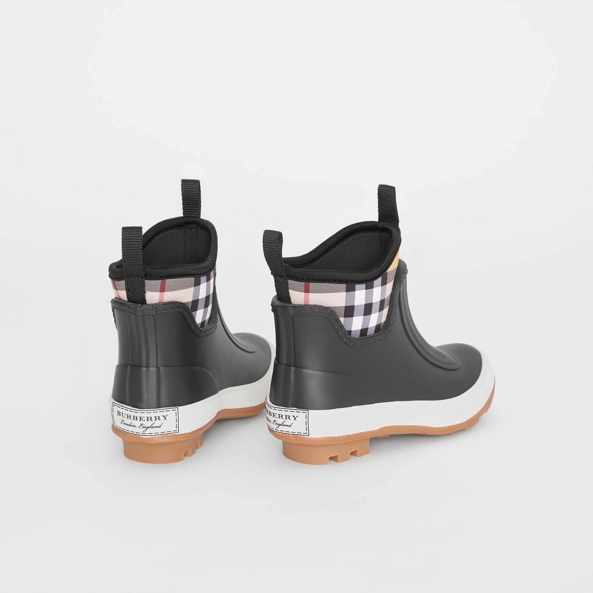 Vintage Check Neoprene and Rubber Rain Boots in Black - Children | Burberry Australia - gallery image 2