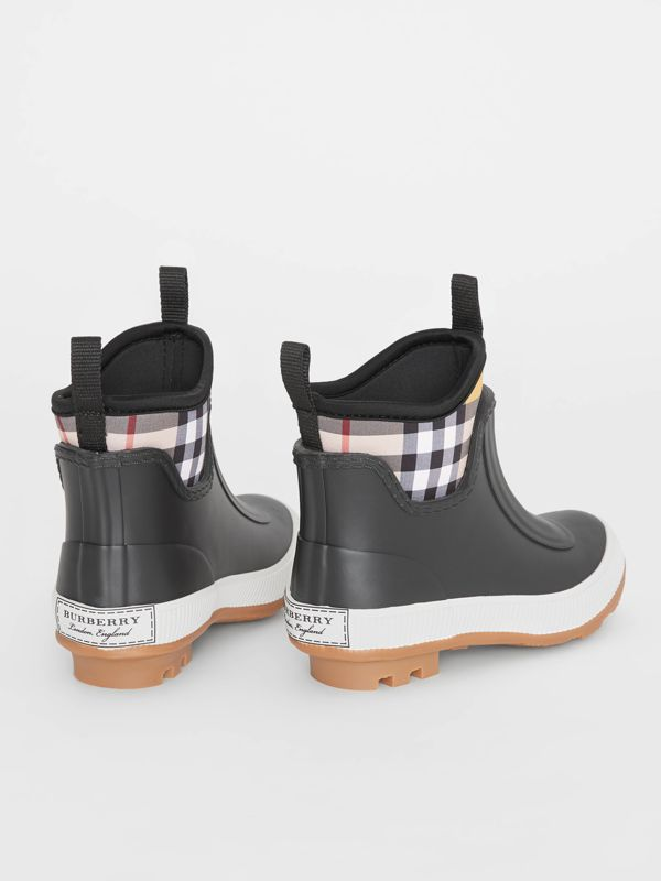 Vintage Check Neoprene and Rubber Rain Boots in Black - Children | Burberry United Kingdom - cell image 2