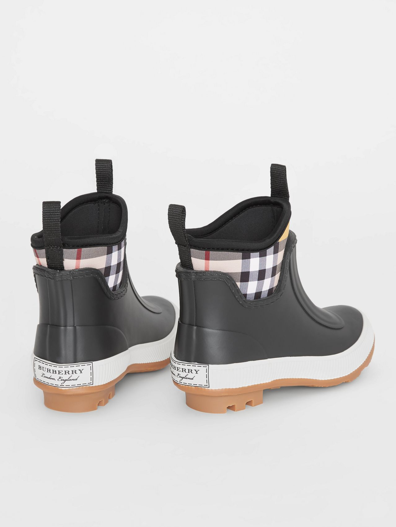 Vintage Check Neoprene and Rubber Rain Boots in Black